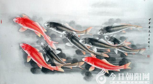 锦鲤写实的铅笔画